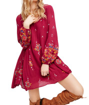 R.Vivimos Women Long Sleeve V Neck Floral Embroidered Tunic Dresses