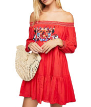 R.Vivimos Women's Long Sleeve Cotton Off Shoulder Floral Embroidery Casual Swing Short Dresses