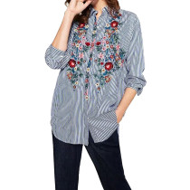 R.Vivimos Women Embroidery Blouse Long Sleeve Striped Shirt
