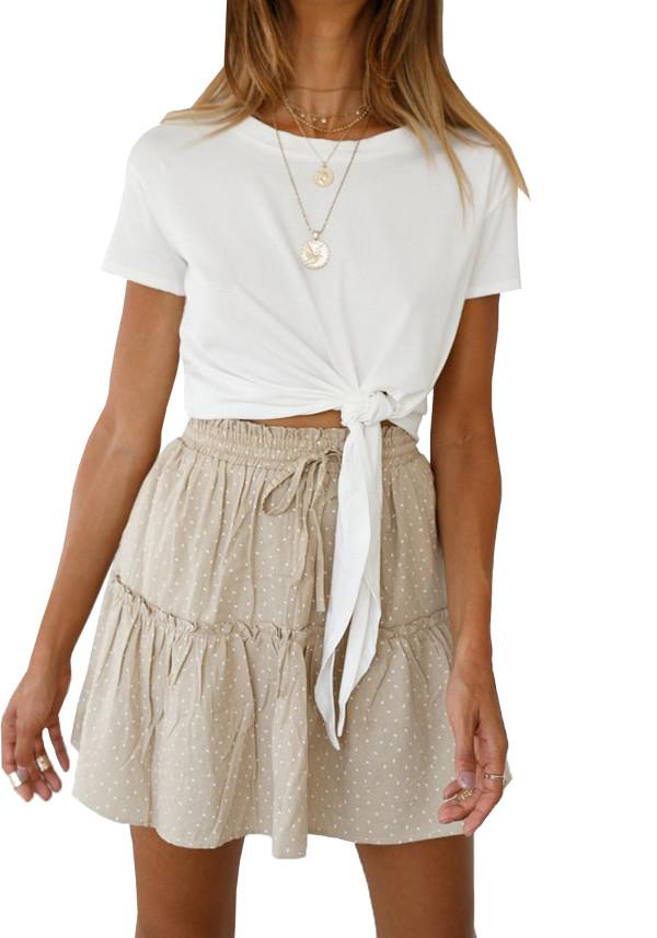 R.Vivimos Women's Summer Short Sleeve Tie Up Cotton Casual Top Tee Fashion T Shirt