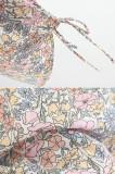 R.Vivimos Women Cotton Long Sleeve V Neck Floral Print Button Down Blouse with Tie Large