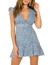 R.Vivimos Women's Summer Cotton V Neck Floral Print Ruffles Backless Mini Dress
