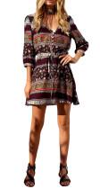 R.Vivimos Women Long Sleeve Print V Neck Short Dresses