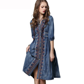 R.Vivimos Womens Autumn Half Sleeve Buttons Denim Short Dresses
