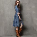 R.Vivimos Womens Autumn Half Sleeve Buttons Denim Short Dresses