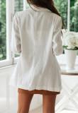 R.Vivimos Women's Fall Long Sleeve Linen Casual Basic Thin Coat Blazer