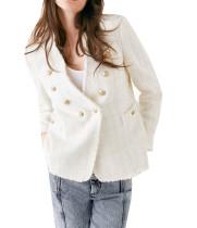 R.Vivimos Women's Fall Long Sleeve Casual Outerwear Wool Blends Tweed Blazer Coat