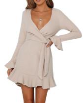 R.Vivimos Women's Winter Long Sleeve V Neck Ruffles Sweater Dresses Mini Dresses