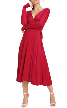 R.Vivimos Women Spring Autumn Long Sleeve Sweater Knitted Slim Elastic V Neck Sexy Midi Wrap Dresses