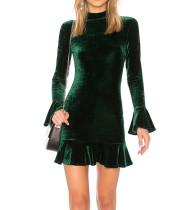 R.Vivimos Women's Winter Long Sleeve Velvet Ruffles Bodycon Mini Dress
