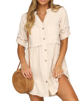 R.Vivimos Women's Cotton 3/4 Sleeves Button Down Shirt Mini Dress with Pockets