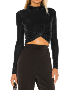 R.Vivimos Womens Winter Velvet Long Sleeve Turtle Neck T-Shirts Crop Tops