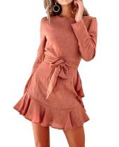 R.Vivimos Women's Fall Long Sleeve Ruffled Open Back Mini Dress