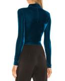 R.Vivimos Womens Winter Velvet Long Sleeve Turtle Neck T-Shirts Crop Tops
