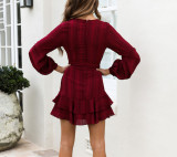 R.Vivimos Women's Autumn Long Sleeve Deep V Neck Chiffon Ruffles Mini Dress