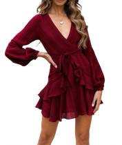 R.Vivimos Women's Autumn Long Sleeve Deep V Neck Chiffon Ruffles Mini Dress