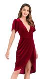 R.Vivimos Womens Velvet Elegant Deep V Neck Short Sleeve High Low Midi Dresses