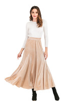 R.Vivimos Women's Winter Warm Velvet High Waist Elegant Flowy A-Line Midi Skirt