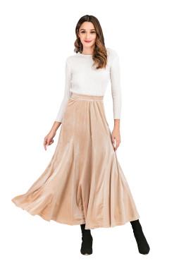 R.Vivimos Women's Winter Warm Velvet High Waist Elegant Flowy A-Line Midi Skirt