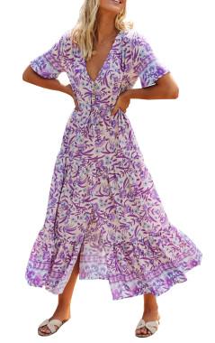 R.Vivimos Womens Summer Floral Print Cotton Short Sleeve Flowy Dress