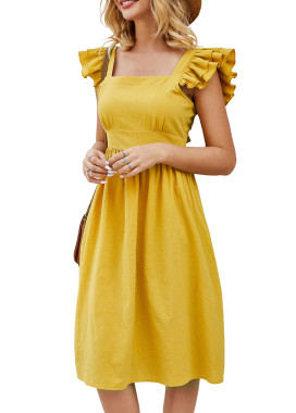 R.Vivimos Womens Summer Cotton Ruffled Backless Knee-Length Dress