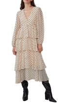 R.Vivimos Women's Long Sleeve V Neck Chiffon Polka Dot Layered Midi Dress