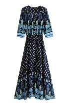 R.Vivimos Womens 3/4 Sleeve Striped V-Neck Button-up Empire Waist Maxi Dresses