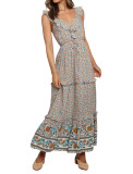 R.Vivimos Womens Summer Floral Print Cotton V Neck Ruffled Backless Dress