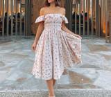 R.Vivimos Womens Summer Floral Print Puff Sleeves Vintage Ruffles Midi Dress