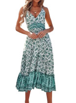 R.Vivimos Womens Summer Floral Long Boho Dress Spaghetti Straps Buttons Midi Dress