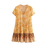 R.Vivimos Womens Summer Cotton Short Sleeve Floral Print Button-up Ruffles Mini Dress