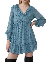 R.Vivimos Women's Long Sleeve Polka Dot Ruffles V-Neck Chiffon Mini Dress