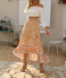 R.Vivimos Womens Summer Cotton Vintage Ruffled Asymmetric Floral Print Boho Casual Long Skirt