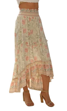 R.Vivimos Womens Summer Cotton Vintage Ruffled Asymmetric Floral Print Boho Casual Long Skirt