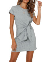 R.Vivimos Women's Summer Short Sleeve Cotton Solid Tie-up T-Shirt Dress