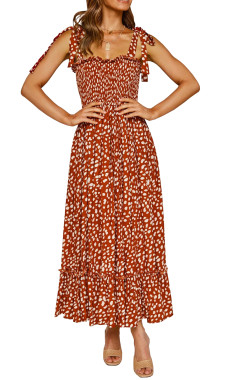 R.Vivimos Women's Summer Straps Cotton Irregular Polka Dot Ruffles Midi Dress