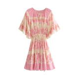 R.Vivimos Women's Summer Cotton Short Sleeve Ruffles Floral Print Mini Dress