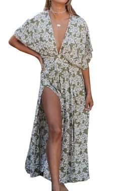 R.Vivimos Women's Summer Cotton Floral Print Deep V Neck Splits Midi Dress