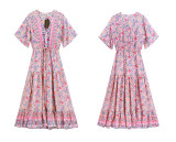 R.Vivimos Womens Summer Floral Print Cotton Short Sleeve Flowy Dress