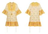 R.Vivimos Women's Summer Cotton Half Sleeve Ruffles V Neck Floral Print Tunic Dress
