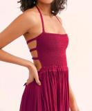 R.Vivimos Women Summer Cotton Sexy Blackless Long Dresses