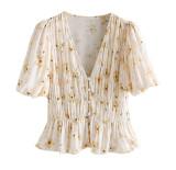 R.Vivimos Womens Summer Chiffon V Neck Short-Sleeve Button Down Floral Shirt Blouse