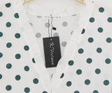 R.Vivimos Women's Long Sleeve Chiffon Polka Dot Button UP Shirt Ruffles Blouse Tops