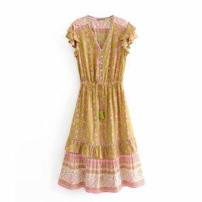 R.Vivimos Women's Summer Cotton Short Sleeve Ruffled Button Up Floral Print Midi Dress