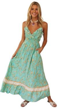 R.Vivimos Women Summer Spaghetti Straps Cotton Floral Print Backless Ruffles V Neck Beach flowy Midi Dress