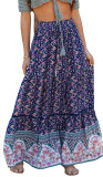 R.Vivimos Womens Summer Cotton Vintage Floral Print Boho Casual Long Skirt