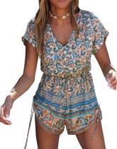 R.Vivimos Women's V Neck Floral Print Short Sleeve Front Buttons Short Jumpsuit Romper