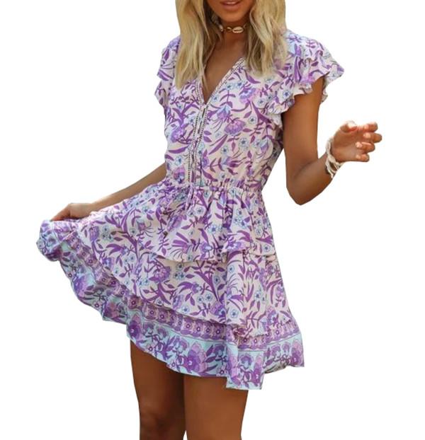 R.Vivimos Women Summer Cotton V-Neck Buttons Ruffled Layered Hem A Line Mini Dress