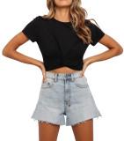 R.Vivimos Women's Cotton Basic Short Sleeve Round Neck Twist Knot Crop Top T-Shirt