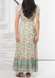 R.Vivimos Women's Summer Short Sleeve Cotton Print Button Up Bohemian Midi Dress